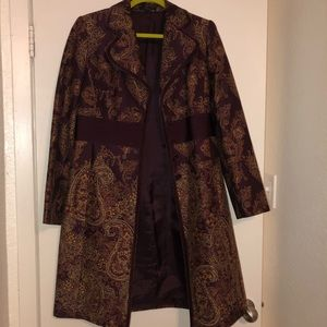 Reba maroon paisley dress coat size medium